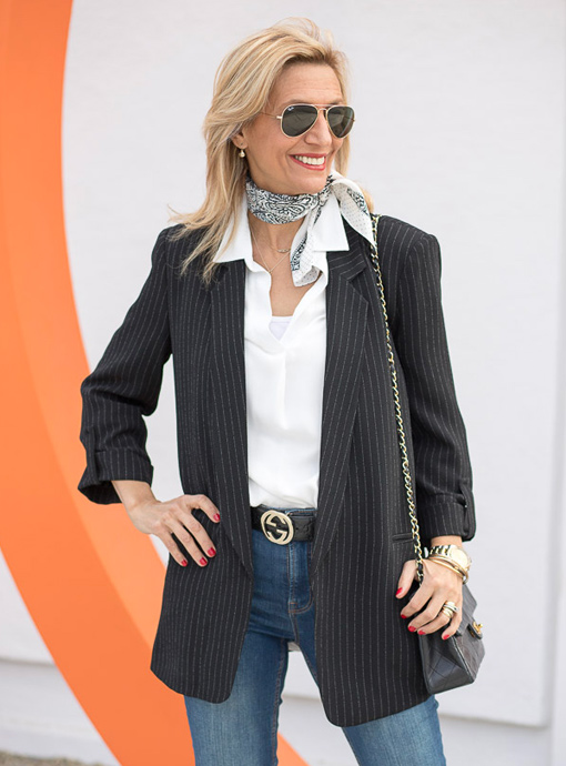 Black Pinstripe Boyfriend Jacket And Jeans
