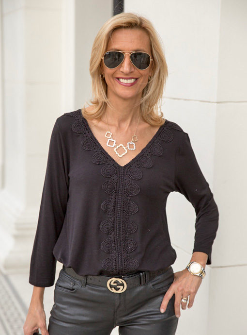Womens Black V Neck Top With Lace Trim