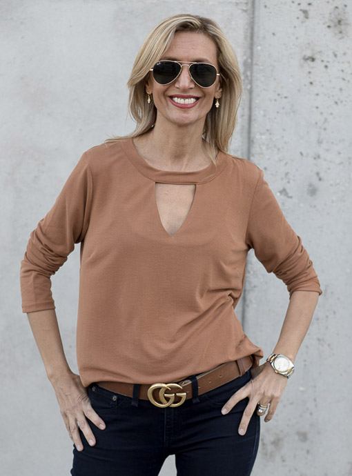 Bronze Long Sleeve Top With Neck Band