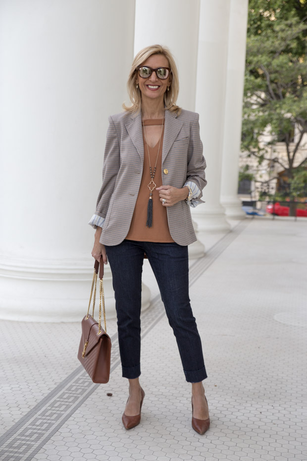 womens classic houndstooth tan and blue blazer jacket