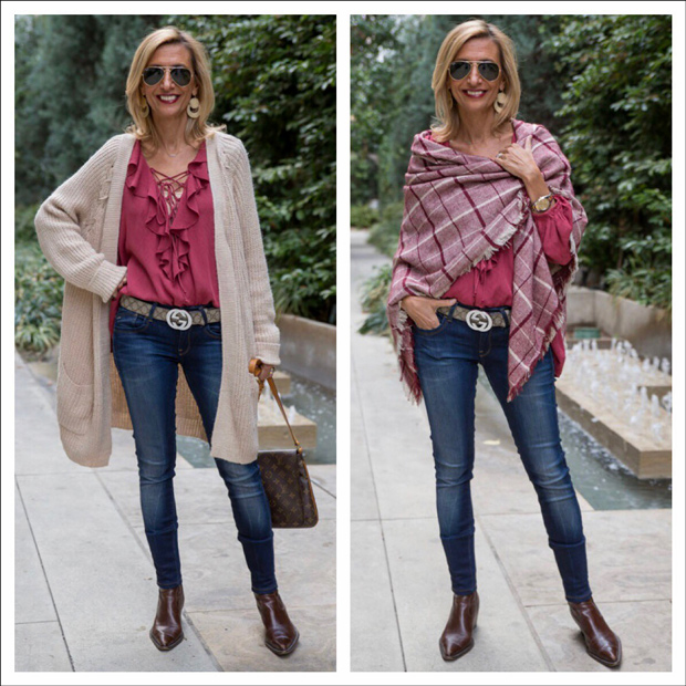 Cozy-Ecru-Cardigan-and-Maroon-Ruffle-Blouse