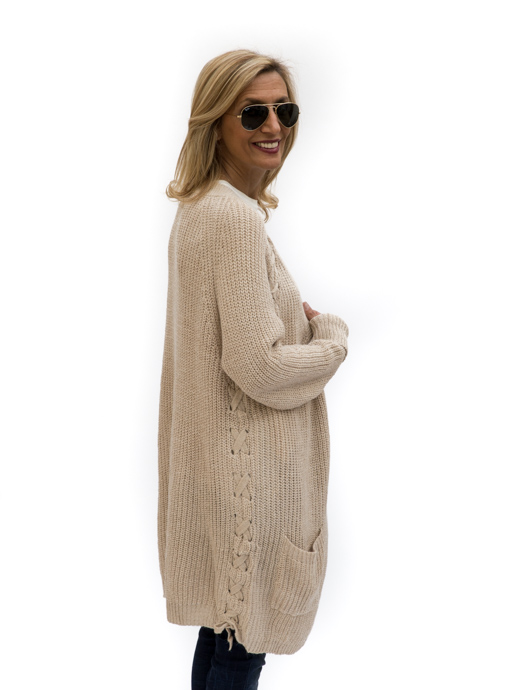 Ecru Long Cardigan With Lace Up Detail