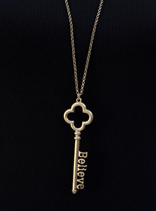 Gold Tone Chain Necklace With Believe Key Pendant