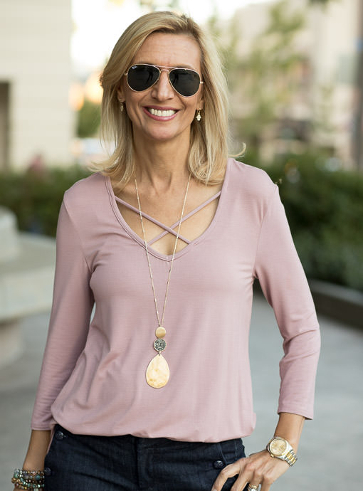 Mauve V Neck Long Sleeve Top For Women