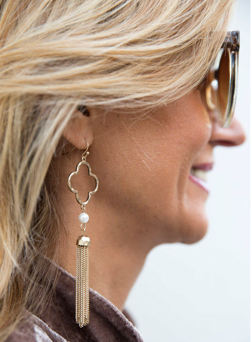 Gold Tone Clover And Pearl Earring With Chain Fringe