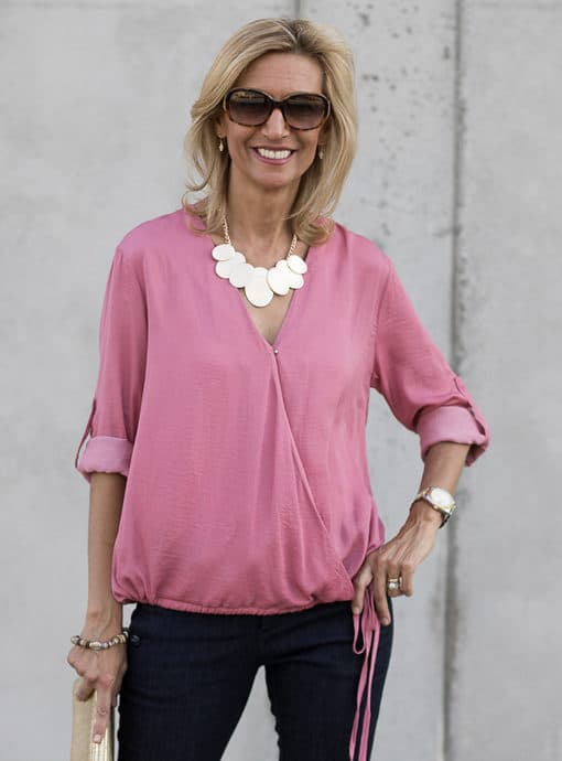 Rose Criss Cross Blouson Blouse
