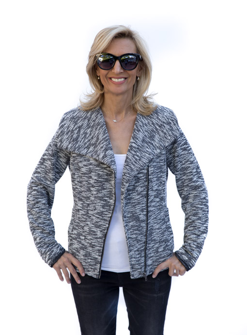 womens Salt And Pepper Knit Moto Jacket