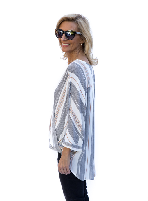 womens stripe cross over dolman top