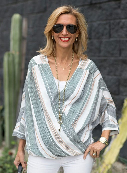 Stripe Crossover Dolman Sleeve Blouse
