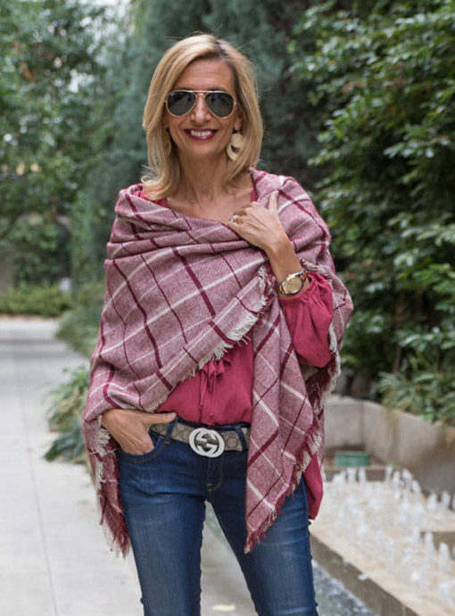 Tan-Burgandy-Plaid-Shawl-Scarf
