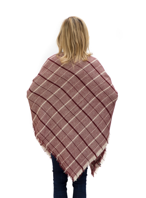 Tan Burgundy Plaid Square Shawl Scarf
