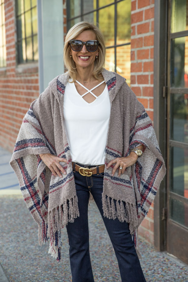 Womens Taupe Boucle Hooded Poncho Style With Two New Blouses