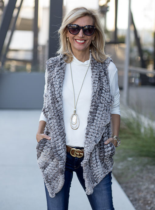 Taupe Faux Fur High Low Vest