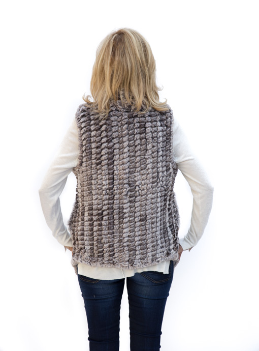 Womens Taupe Faux Fur Sleeveless Vest