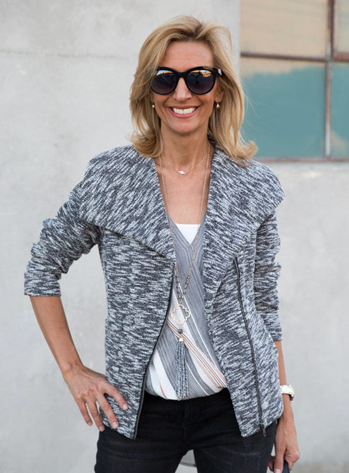 womens knit moto jacket zip front black and white salt and pepper