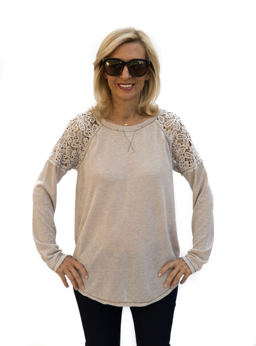 Taupe Long Sleeve Knit Top With Lace Details