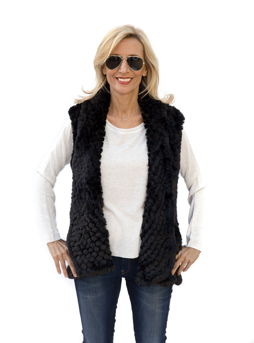 Black Faux Fur High Low Vest