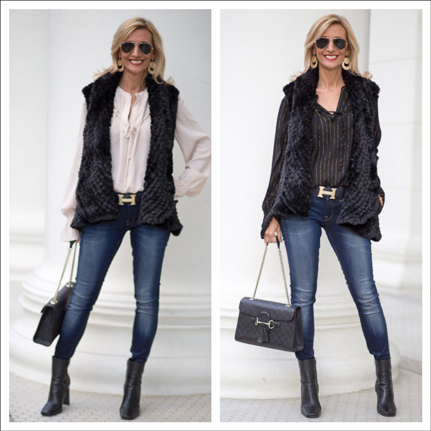 Black Faux Vest Styled With Gold Metallic Stripe Blouses