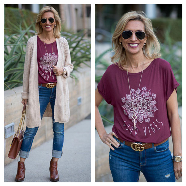 Casual Fin Chic Cardigan and Good Vibes T Shirt