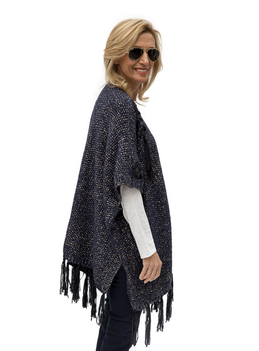 Navy Gold Cardigan Vest With Fringe