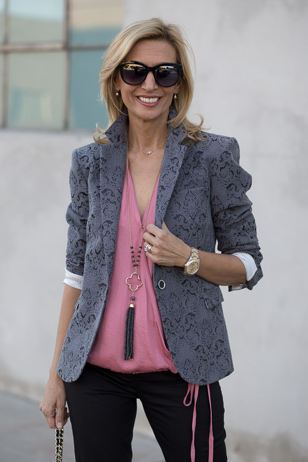 Florence Jacquard Blazer and Rose Criss Cross Blouson Blouse