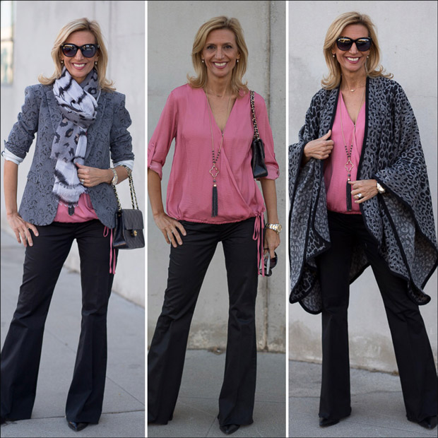 Florence Jacquard Blazer and Rose Criss Cross Blouson Blouse with Scarf