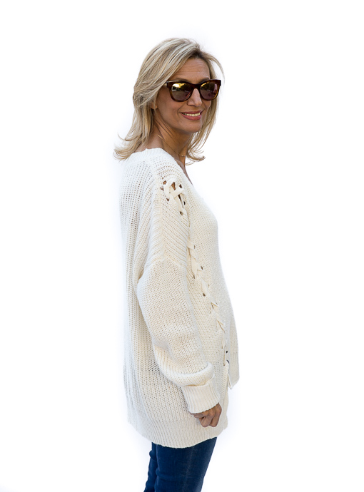 Ivory Oversized Lace Up Sweater
