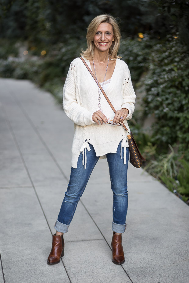 Ivory Lace Up Sweater