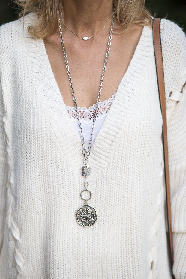 Ivory Lace Up Sweater and Silver Coin Cross Necklace