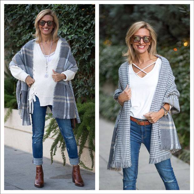 Ivory Lace Up Sweater with gray houndstooth and tan plaid shawl wrap