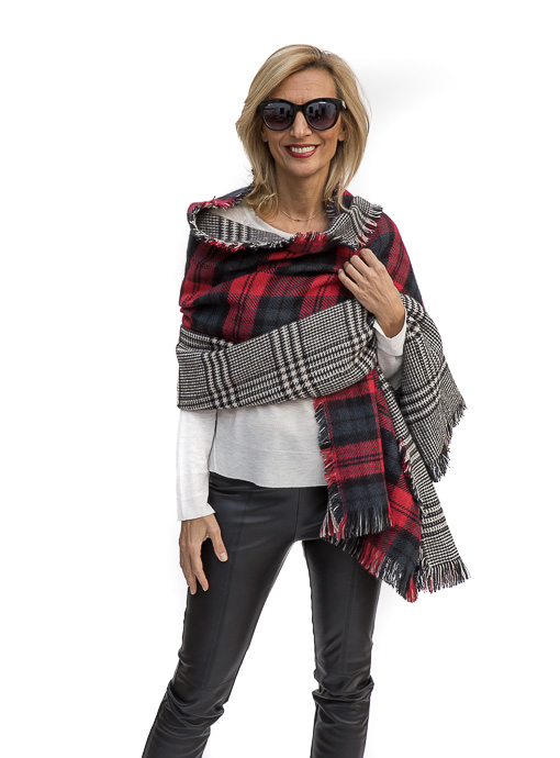 Red Tartan And Black Plaid Houndstooth Double Sided Shawl