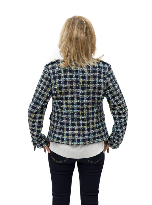 Brittany Blue Boucle Womens Jacket Back