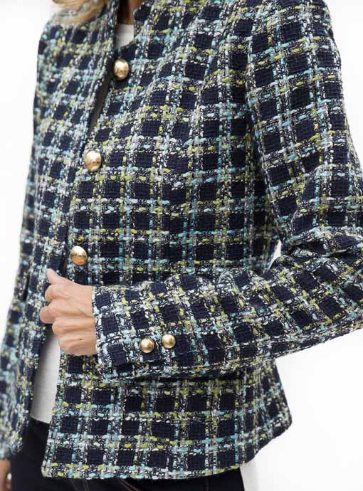 Brittany Blue Boucle Womens Jacket button Sleeves