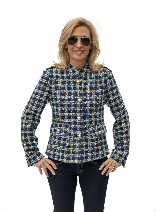 Brittany Blue Boucle Womens Jacket buttoned up