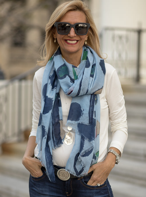 Navy Blue Heart Scarf Shawl