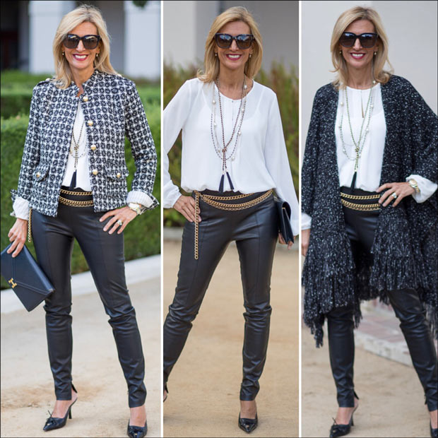 black and white boucle jacket and poncho with white long sleeve pleasted front blouse