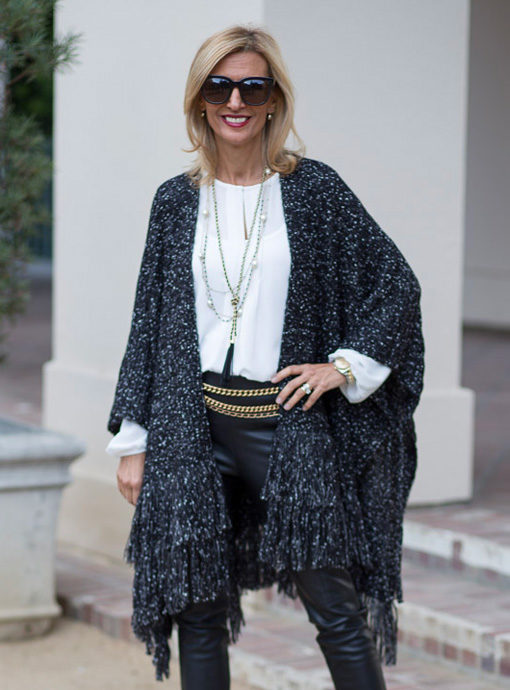 black and white boucle womens poncho
