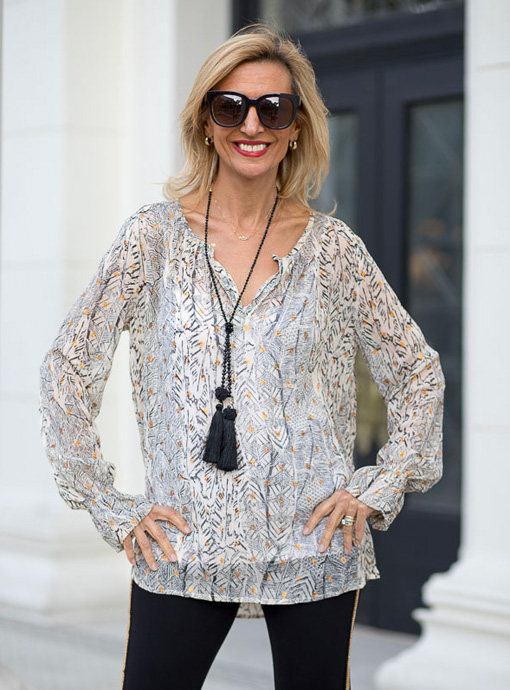Black Cream Metallic Gold Abstract Print Blouse
