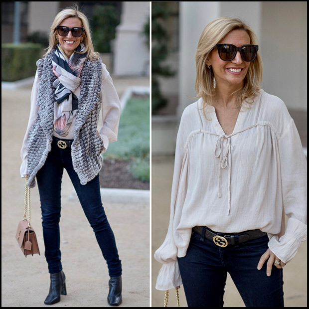 Taupe Faux Fur Vest Styled for a second time