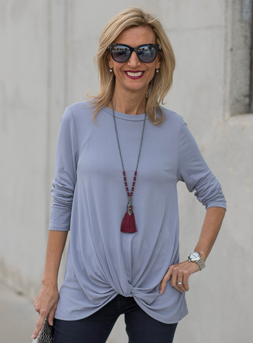 womens steel gray top with front twist detail