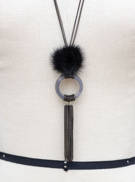 Antique Gold Chain Necklace with Black Faux Fur Pompom and Fringe