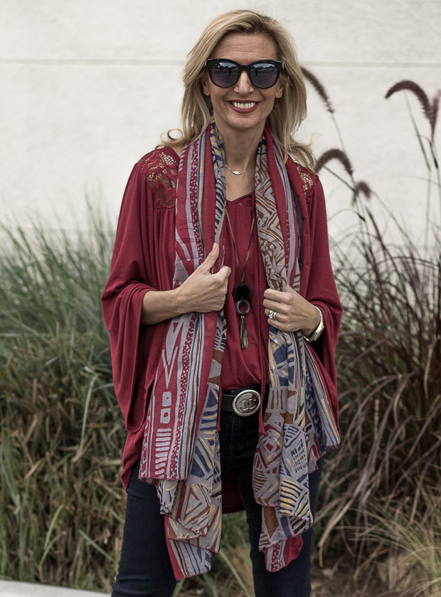 Black And White Boucle Poncho, Scarf and Burgandy Bell Sleeve Blouse