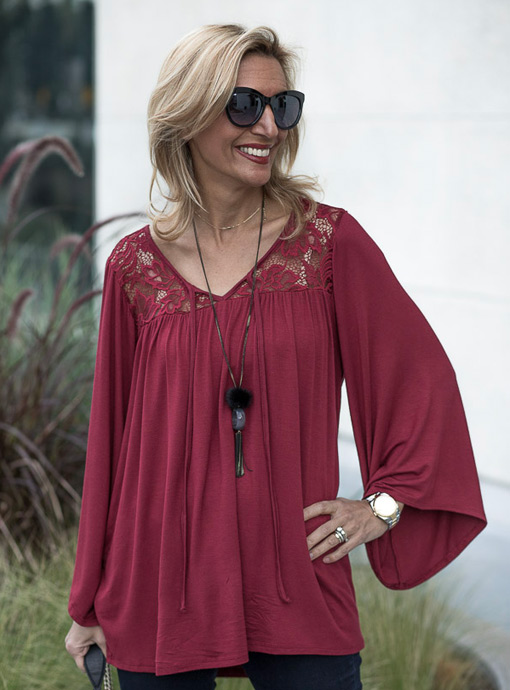 Burgandy-Bell-Sleeve-Blouse with lace trim