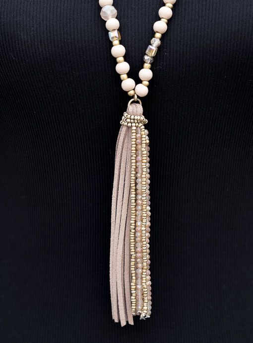Blush Bead And Gold Tone Necklace With Suede Fringe