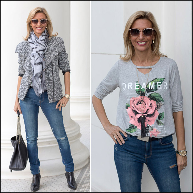 Womens Zip Front Knit Moto Jacket Graphic T shirt and Scarf