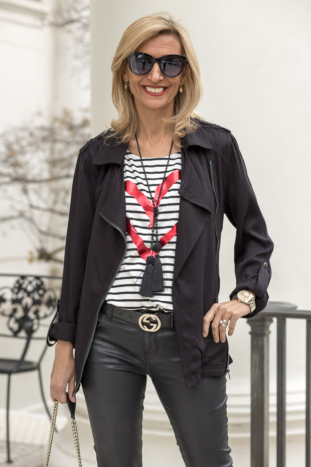 Black Zip Front Moto Jacket with Ivory and black stripe T shirt with valentine heart