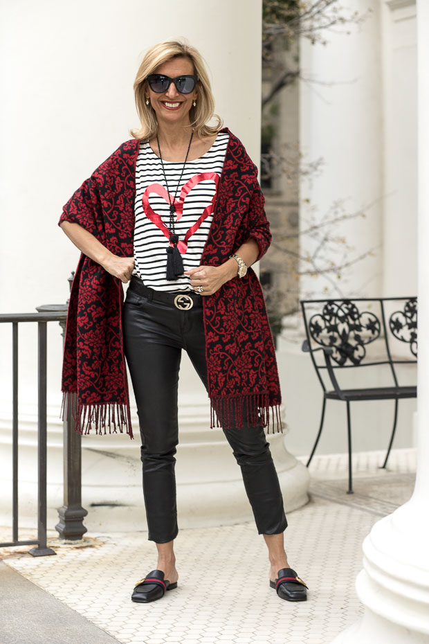 Ivory and black stripe T shirt with valentine heart and red shawl
