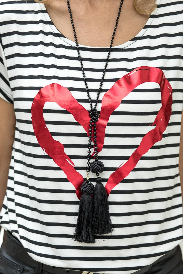 Ivory and black stripe T shirt with valentine heart