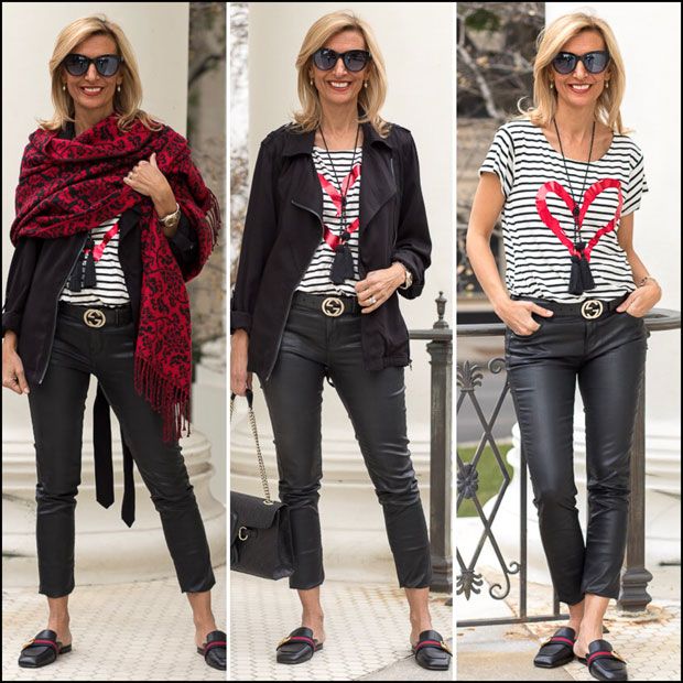 Hearts And Stripes Black and white stripe top styled with black long moto jacket and shawl