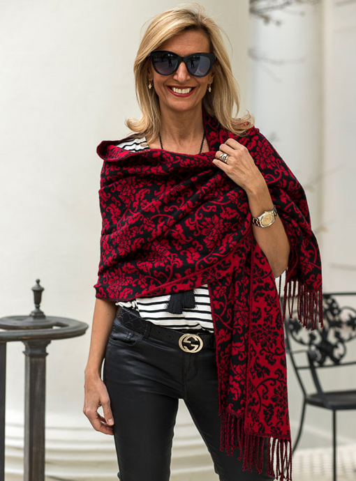 Reversible Red Black Jacquard Shawl Wrap